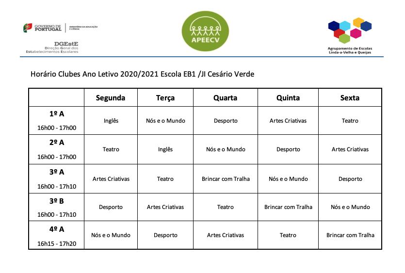 AECs 2020/2021 horários
